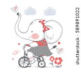 Stock vector elephant hand drawn vector illustration of cute elephant girl riding a bicycle can be used for 589891022