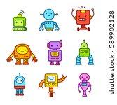 cute little cartoon robots set. ... | Shutterstock . vector #589902128