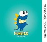 vector cartoon funny blue... | Shutterstock .eps vector #589905116
