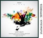 silhouette of dancing people | Shutterstock .eps vector #589908026