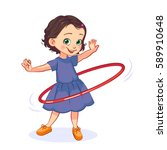 cartoon little girl spins the... | Shutterstock .eps vector #589910648