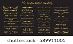 set of handdrawn golden divide... | Shutterstock .eps vector #589911005