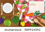 plate knife and fork on a red... | Shutterstock .eps vector #589914392