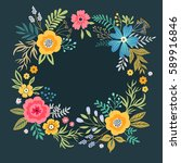 floral wreath on dark blue... | Shutterstock .eps vector #589916846