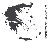 greece map in black on a white... | Shutterstock .eps vector #589924925