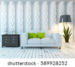 white living room interior with ... | Shutterstock . vector #589928252
