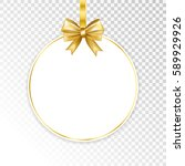paper white frame with gold bow ... | Shutterstock .eps vector #589929926
