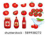 set red tomato vegetables sauce ... | Shutterstock .eps vector #589938272