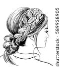 woman with french braid... | Shutterstock .eps vector #589938905