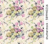 beautiful watercolor bouquet of ... | Shutterstock . vector #589940216