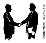 hand drawing silhouettes of two ... | Shutterstock .eps vector #589943516