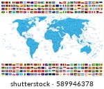 all country flags and world map.... | Shutterstock .eps vector #589946378