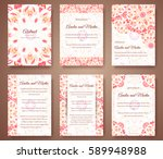 set of beautiful invitation... | Shutterstock .eps vector #589948988