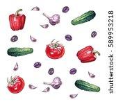 vegetable set  watercolor... | Shutterstock . vector #589953218