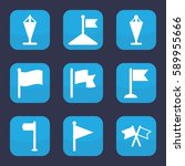 pennant icon. set of 9 pennant...