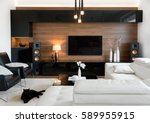 Stock photo modern living room interior of real home 589955915