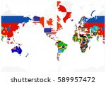 world map flags   america in... | Shutterstock .eps vector #589957472