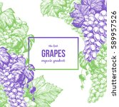 grapes card design template.... | Shutterstock .eps vector #589957526