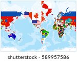 world map flags   america in... | Shutterstock .eps vector #589957586