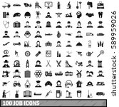 100 job icons set in simple... | Shutterstock .eps vector #589959026