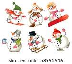 cartoon snowman | Shutterstock .eps vector #58995916