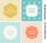 set of vintage frames in gold ... | Shutterstock .eps vector #589964846