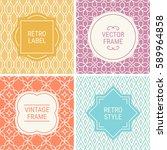 set of vintage frames in gold ... | Shutterstock .eps vector #589964858