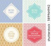 set of vintage frames in violet ...   Shutterstock .eps vector #589964942