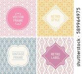 set of vintage frames in pink ... | Shutterstock .eps vector #589964975