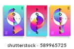poster with flat geometric... | Shutterstock .eps vector #589965725