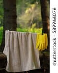 hanging towel and rubber gloves ... | Shutterstock . vector #589966076