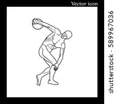 discus thrower turning to throw ... | Shutterstock .eps vector #589967036