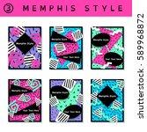 set of vibrant 80's banners ... | Shutterstock .eps vector #589968872