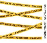 crime scene yellow tape  police ... | Shutterstock .eps vector #589969358