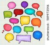 set of bubbles speech  hand... | Shutterstock .eps vector #589973546
