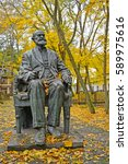 Small photo of SVETLOGORSK, RUSSIA - OCTOBER 26, 2016: A monument to the academician I. P. Pavlov in autumn day