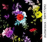 flowers. poppy  wild roses ... | Shutterstock .eps vector #589977092