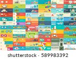 big collection of banners in... | Shutterstock .eps vector #589983392