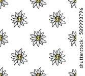 edelweiss flower seamless... | Shutterstock . vector #589993796