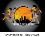 businessman in hurry | Shutterstock .eps vector #58999606