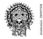 aztec jaguar warrior tattoo.... | Shutterstock .eps vector #589997558