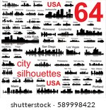 silhouettes of 64 cities in the ... | Shutterstock .eps vector #589998422