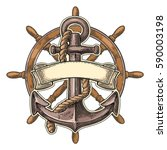 Anchor And Ship Wheel With...