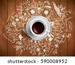 morning coffee doodle concept... | Shutterstock .eps vector #590008952