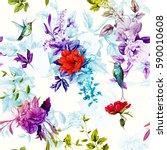 flowers. poppy  wild roses ... | Shutterstock .eps vector #590010608