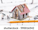 tiny people build houses for... | Shutterstock . vector #590016542