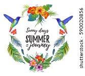 watercolor summer frame for... | Shutterstock . vector #590020856