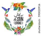 watercolor summer frame for... | Shutterstock . vector #590020916