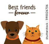 Stock vector cat and dog characters on white background best friend forever vector illustration 590026706
