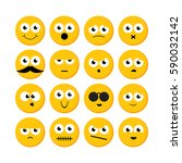 set of yellow round emoticons. | Shutterstock .eps vector #590032142